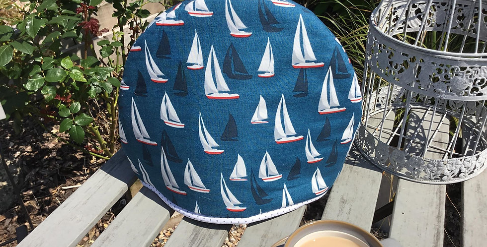 Hand Crafted Nautical Tea Cosy with Grey Spot Lining