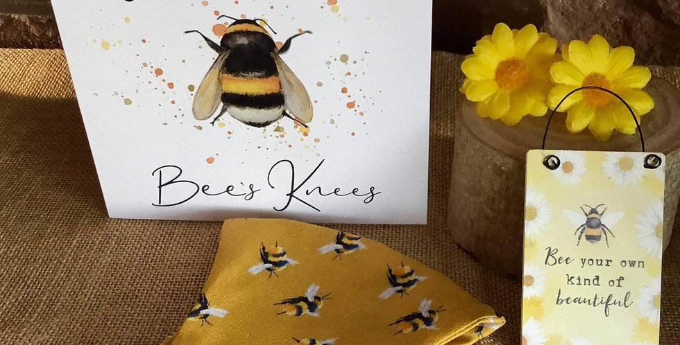 Mustard Bee Mask, Mini Sign Bee your own kind of beautiful and Card