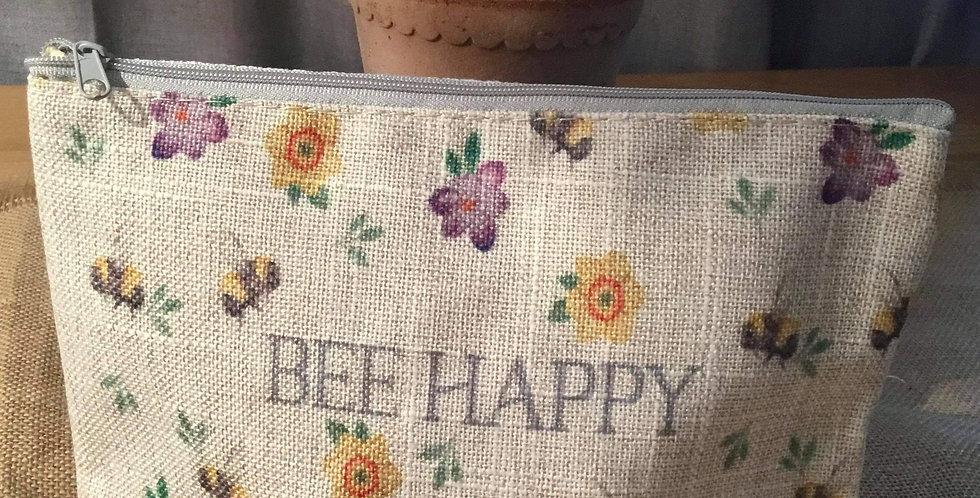 Linen Bee Happy Cosmetic Bag or Pencil Case