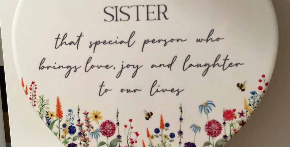 Ceramic Family Flower Heart for a Sister