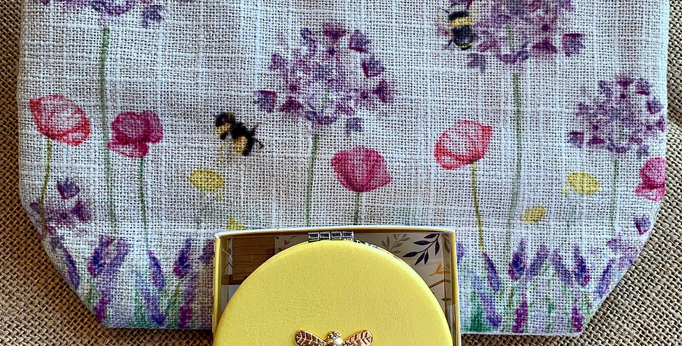 Pretty Bee Linen Cosmetic Bag and Yellow Compact Mirror