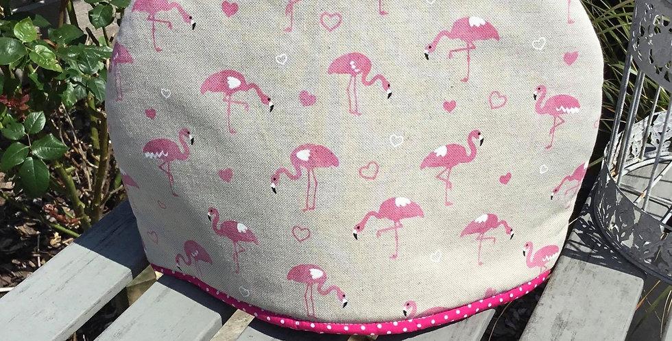 Funky Flamingo Tea Cosy with Pink Polka Dot Lining