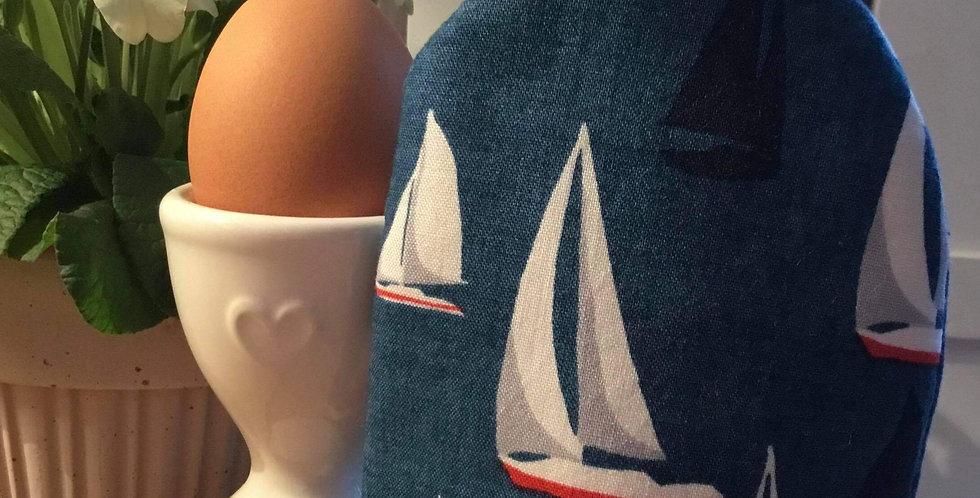 Navy Sail Boats Egg Cosy