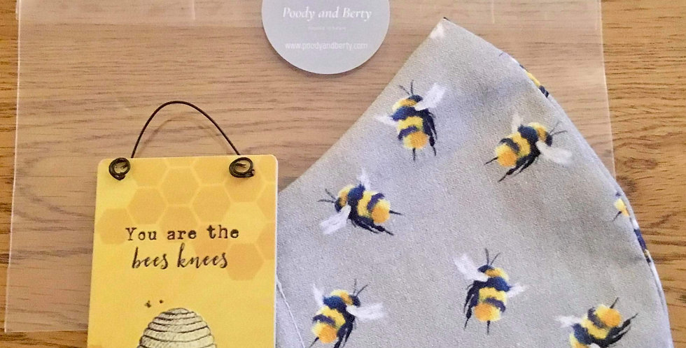 Grey Bee Face Mask and mini sign gift set