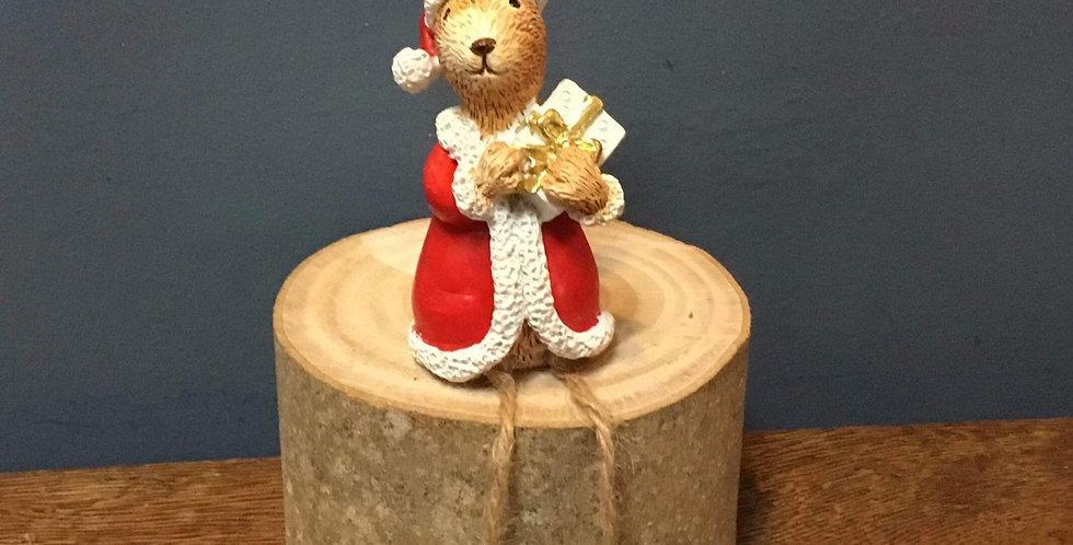 Shelf Sitting Ceramic Christmas Bunny with Present