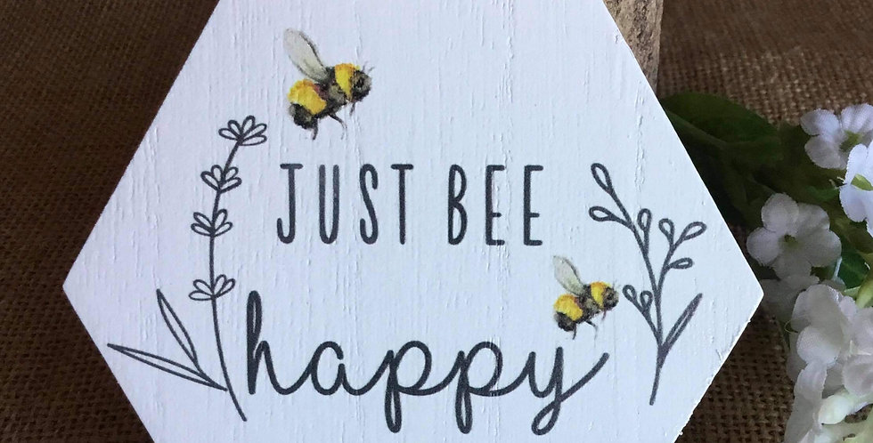 Rustic Honeycomb MIni Plaque - Just Bee Happy