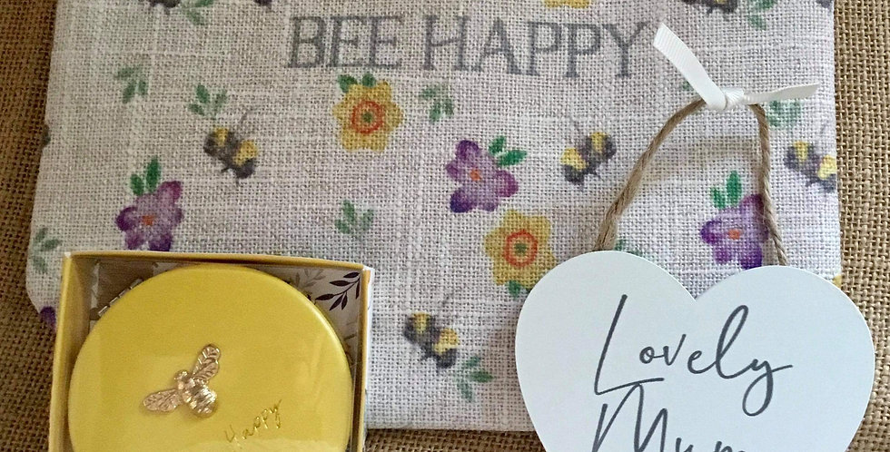 Bee Happy Linen Cosmetic Bag, Lovely Mum sign and Compact