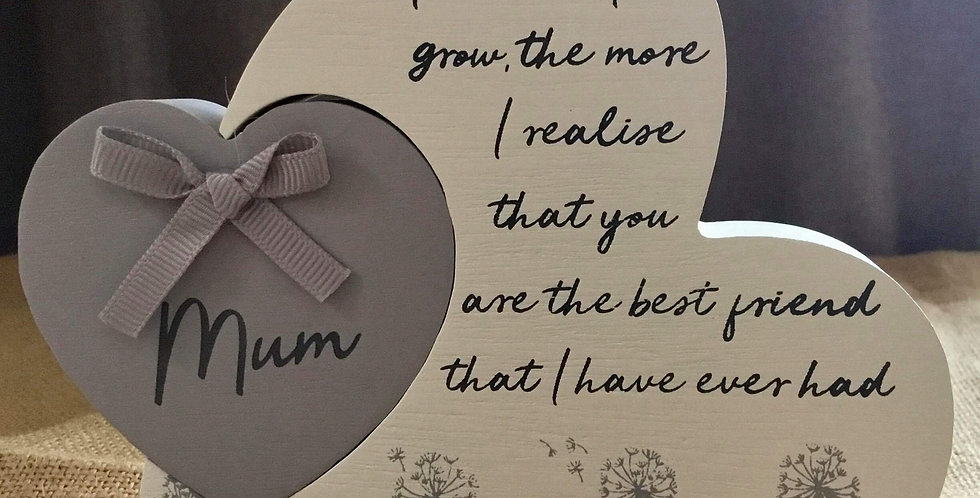 Double Heart Plaque - Mum. The more I grow....