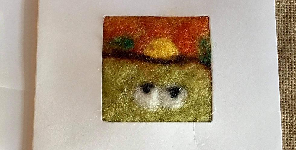 Needle felt card - Sheep in Sunset