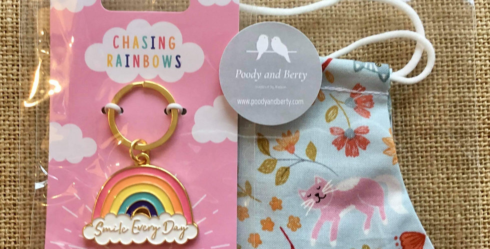 Blue Folksy Cat Face Mask and Rainbow Keyring  gift