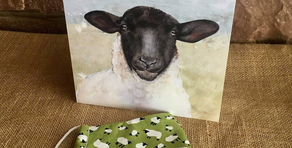 Green Sheep Mask and Sheep Card
