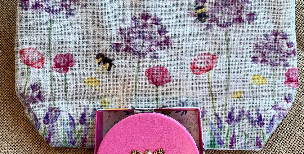 Bees Linen Cosmetic Bag and Pink Compact Mirror