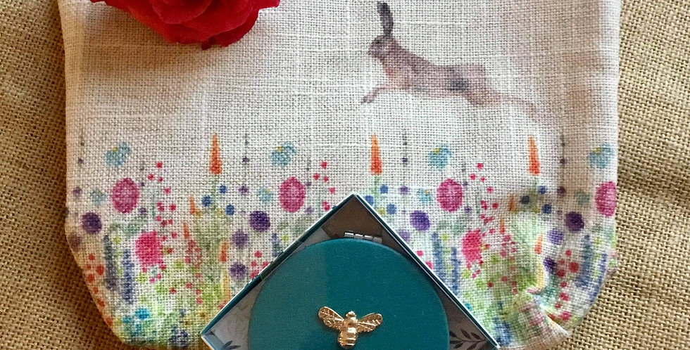 Pretty Hare Linen Cosmetic Bag and Teal Compact Mirror