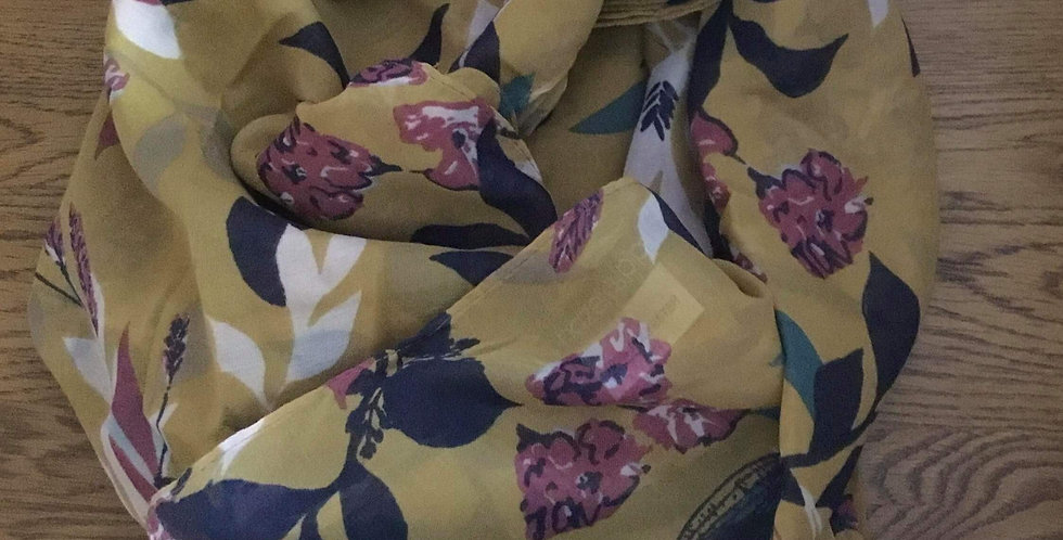 Mustard Floral Scarf by Hazel and Pip