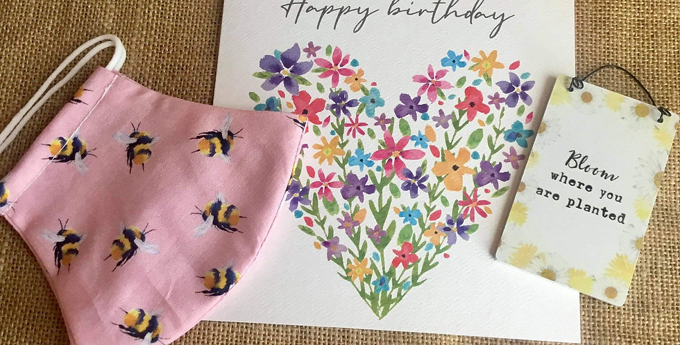 Pink Bee Mask, Mini Bloom Sign  and Birthday Card
