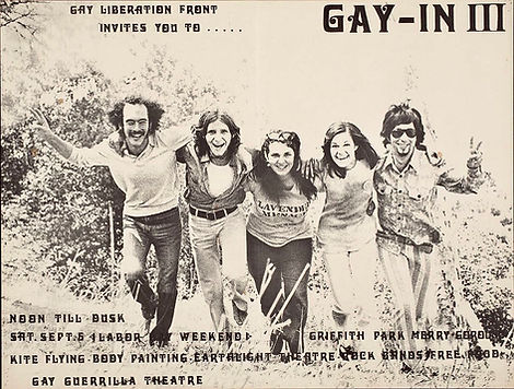 Karla Jay, The Gay Liberation, August Bernadicou,  Front, The Gay-In Los Angeles, Gay Liberation Front Los Angles, The Gay Libration Front New York, Gus Bernadicou