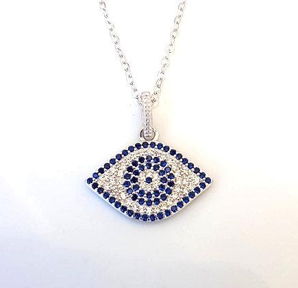 שרשרת עין כחולה מוקפת בשיבוץ כחול