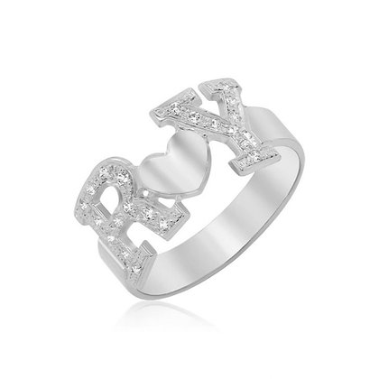 טבעת אותיות משובצות ולב כסף טהור