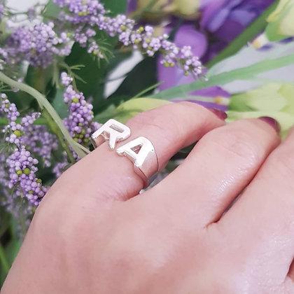 טבעת אותיות כסף טהור