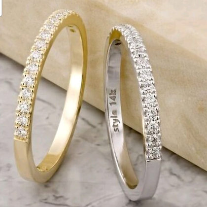 טבעת יהלומים שורה - משובצת 0.18 קראט