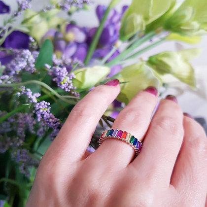 טבעת אבני בגט צבעוניות