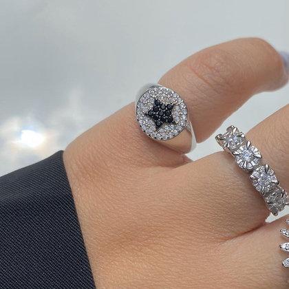 טבעת חותם לזרת כוכב שחור