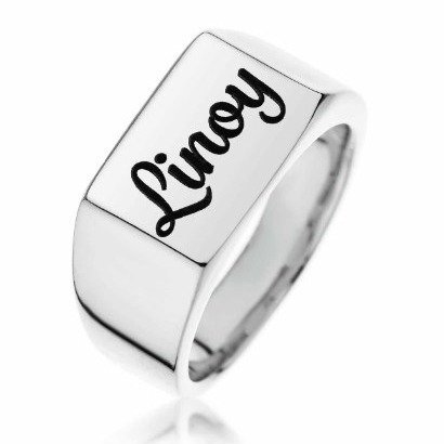 טבעת חותם מלבנית לחריטה