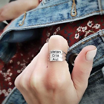 טבעת פס חריטה -3 שורות