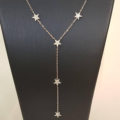 שרשרת עניבה כוכבים קטנים משובצים כסף 925