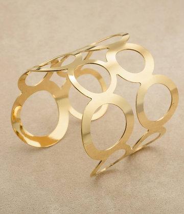 צמיד פתוח עיגולים - מתכוונן - ציפוי זהב