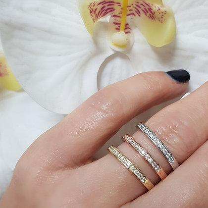 טבעת יהלומים שורה - משובצת 0.13 קראט