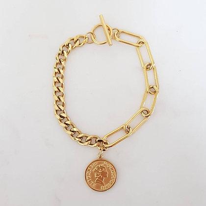 צמיד מטבע סטיינלס סטיל ציפוי זהב