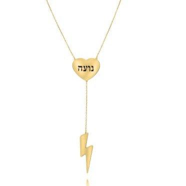 שרשרת עניבה ברק עם שילוב חריטה ציפוי זהב