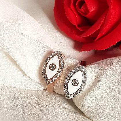 טבעת עין יהלומים 0.3 קראט זהב 14 קראט