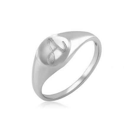 טבעת חותם אובלית עדינה לחריטה