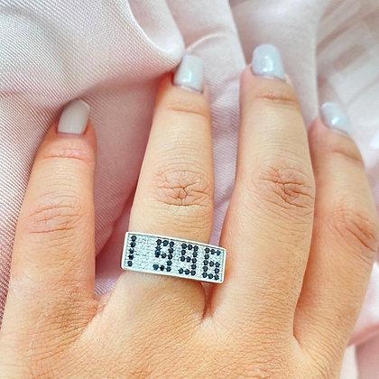 טבעת שנתון משובצת כסף טהור