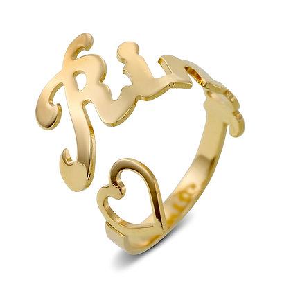 טבעת שם פתוחה עם לב חלול
