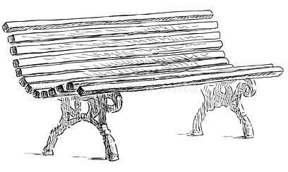 sketch-wooden-bench-city-park-164357021.