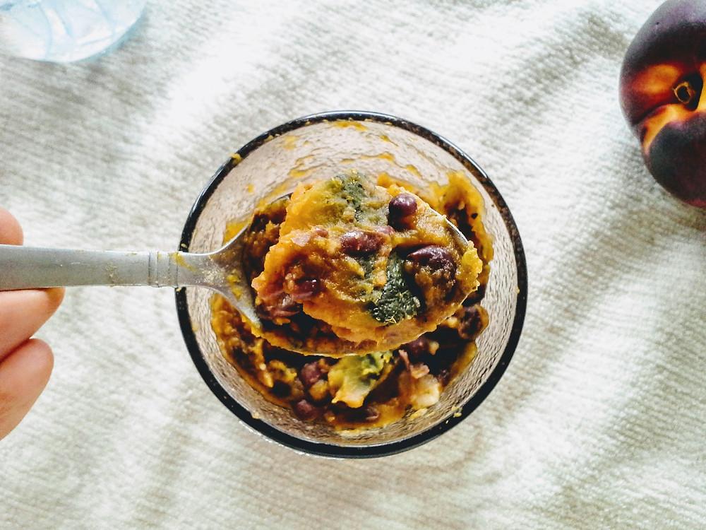 Creamy texture of pumpkin adzuki bean porridge