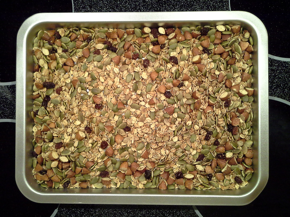 Granola on a baking sheet