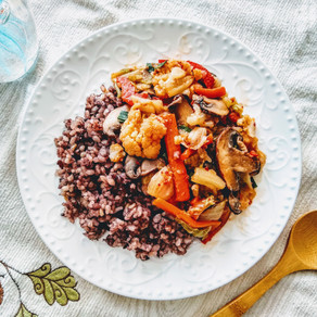 Spicy cauliflower over rice - addictive without MSG