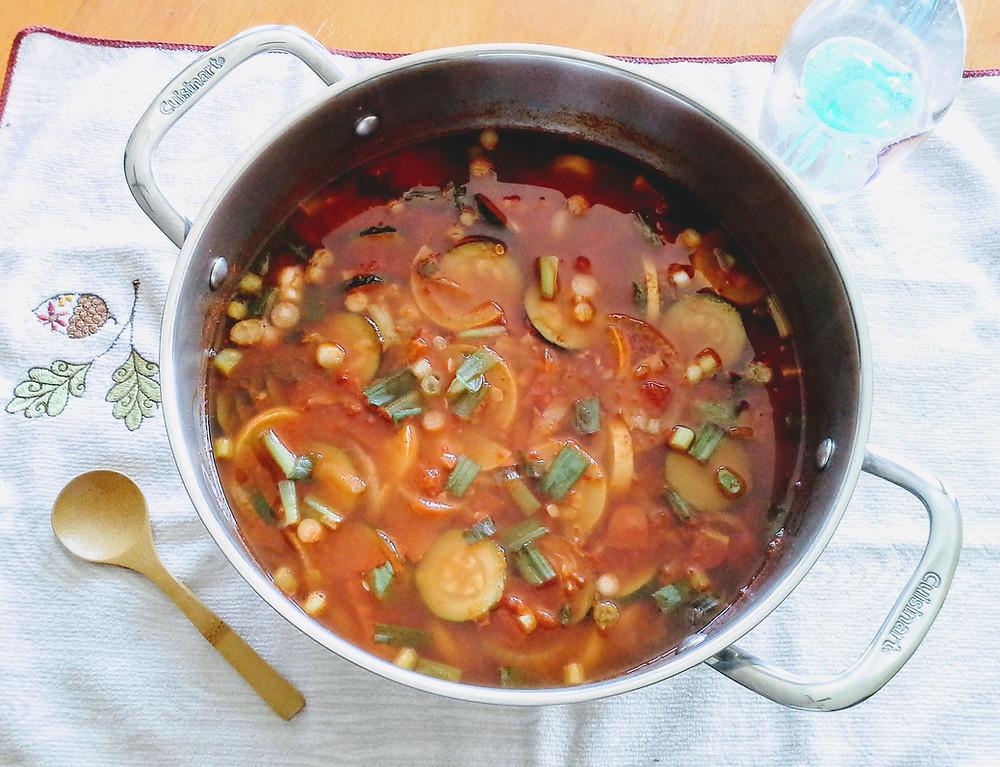 Chili made with zucchini, yellow squash, tomatoes, and beef