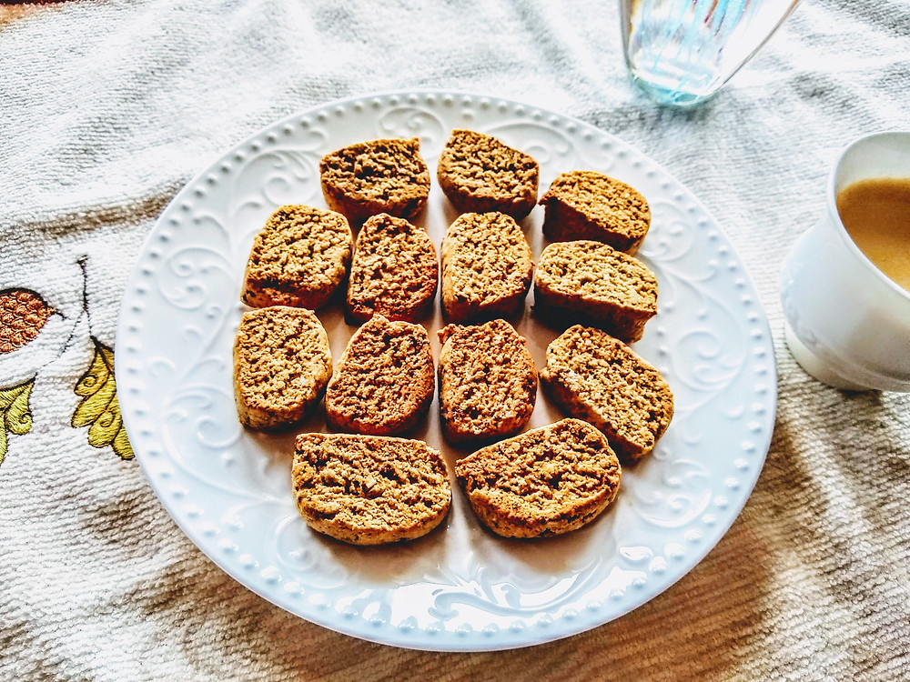 Almond cookies with coffee (a close up view)