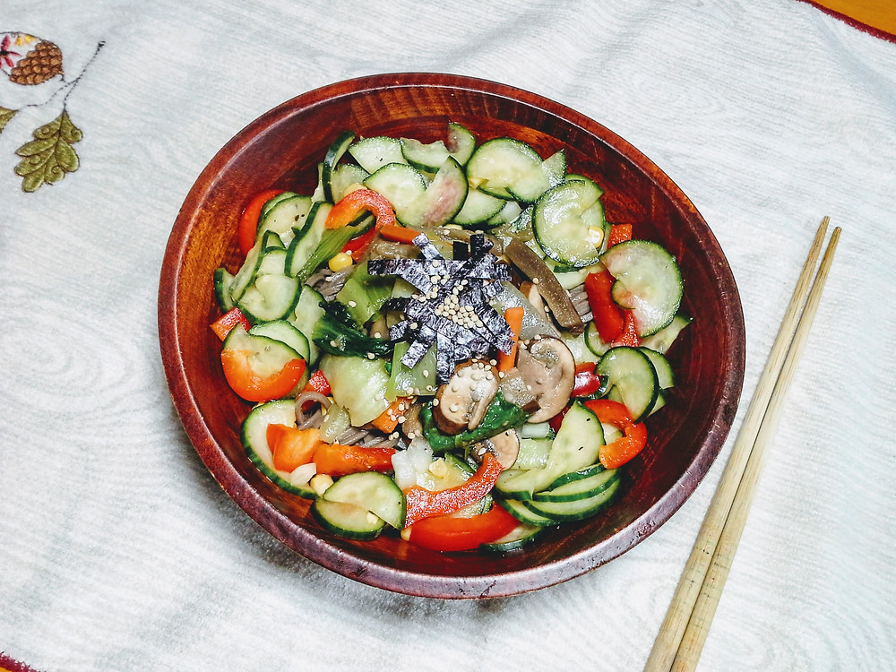 Spicy and sweet soba (buckwheat) noodle salad