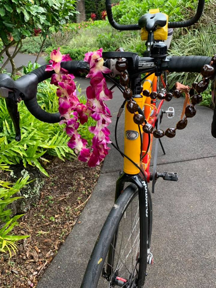 The tandem is all lei'd up