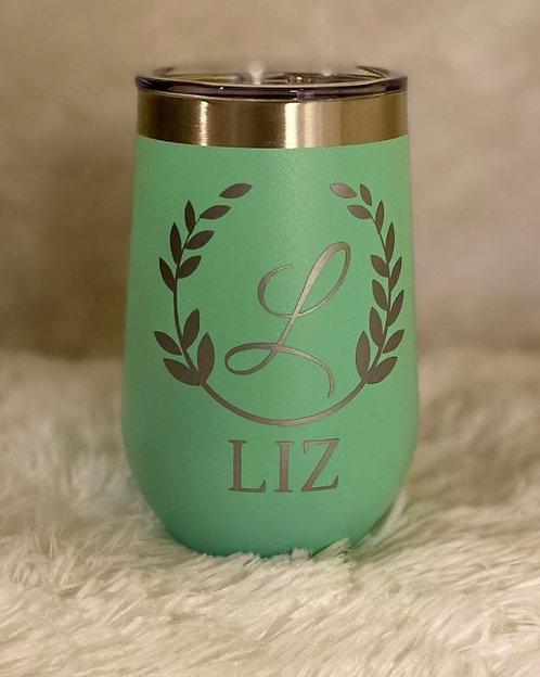 Personalized Green 12 oz Stemless Wine Tumbler
