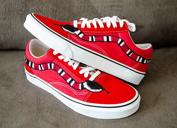 Snake Vans Embroidery Shoes