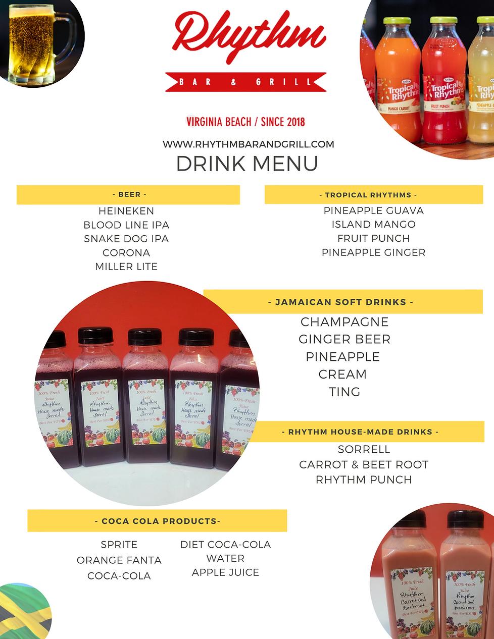 Rhythm Bar & Grill Drink Menu