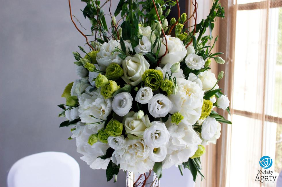 dekoracja sali weselnej w stylu glamour