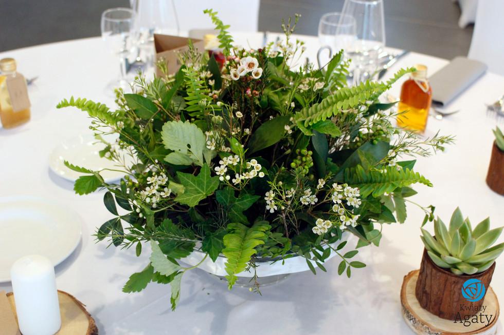 dekoracje weselne na stoły w stylu eko